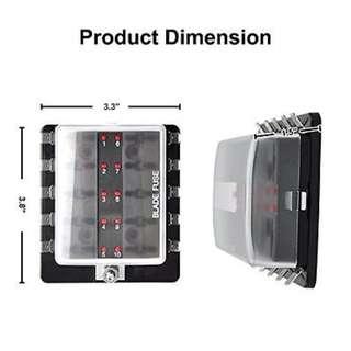 10 Way LED Light Blade Fuse Box Block Holder