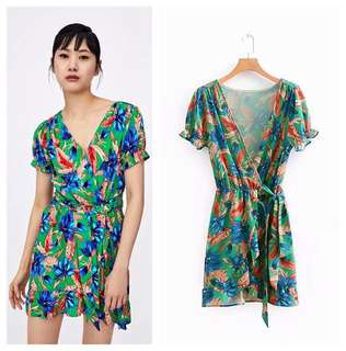 🚚 European and American style V-neck cross flower print short-sleeved double-deck dress