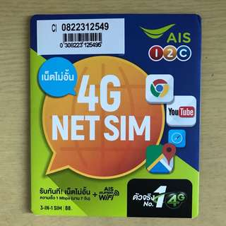 泰國7日4G 無限上網數據卡
