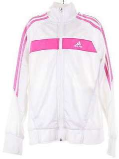 Adidas White Track Jacket with Pink Stripes