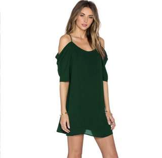 Forest Green Cold Shoulder Dress