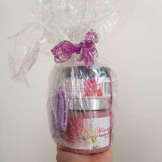 Body butter, body scrub, body scrubber glove gift set