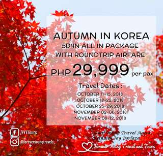 KOREA 5D4N ALL IN 2018 TOUR PACKAGE WITH ROUNDTRIP AIRFARE