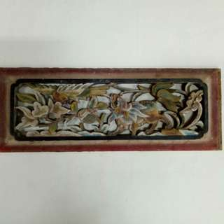 Vintage Old Wood Panel Carved ChiLin and Bird
