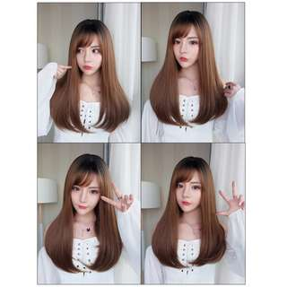 Korean Air Fringe Side Fringe Full Wig for Daily Use (Ombre Brown/Ombre Grey/Chocolate Brown)