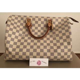 Authentic Louis Vuitton Speedy 35 Damier Azur
