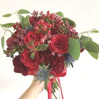 Red Theme Bridal Bouquet / Red Roses Dutch Carnations Burgundy with mix fillers / Bridal Round Bouquet