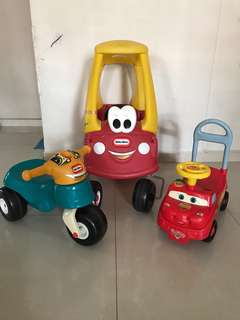 Little Tikes coupe car, bike and CARS ride on toy