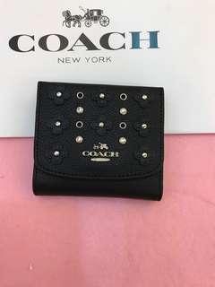 Coach short flower pouch purse wallet