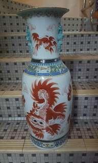 """24"""" red lion vase"""