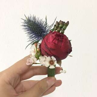 Limited Edition Garden Rose Spray with Thistle / Red Blue Wedding Theme / Wedding Flowers