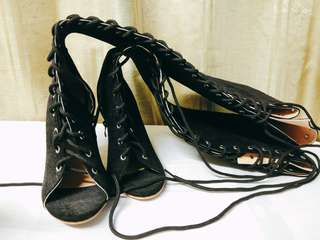 Hang-Qiao High Bangdage ROM Boots Sexy High-Heeled Shoes (Black)
