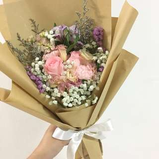 Pink Roses with Mix Fillers in Rustic Kraft Paper / Birthday Bouquet
