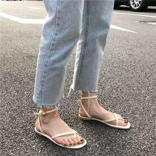 韓版網紅同款街拍款平底鞋涼鞋
