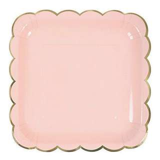 Disposable Party Plates Pastel Pink