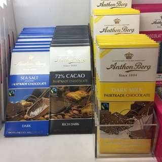 Anthon Berg Chocolate bars (dark sea salt etc)
