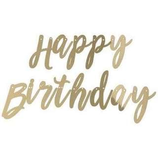 Happy Birthday Banner / Bunting (Gold)