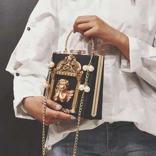 新款巴洛克天使手拎包定型復古小方包單肩斜挎包黑色手袋