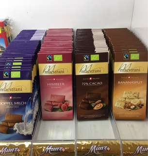 Munz Maestrani Swiss chocolate bars (milk dark etc)