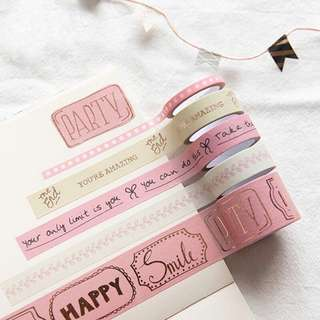 [Ready Stock] Pinky Series Gold Foil Washi Tape Set