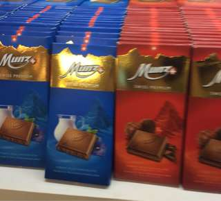 Munz Swiss Premium Chocolate bars (milk/praline)