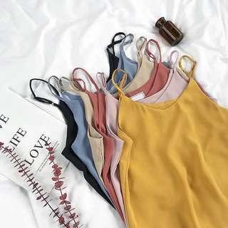 🚚 Korean Chic Chiffon Thin Adjustable Strap V Collar Sleeveless Blouse