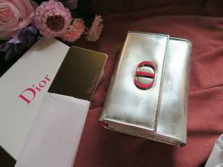 Dior 化妝專櫃銀色小銀包化妝袋