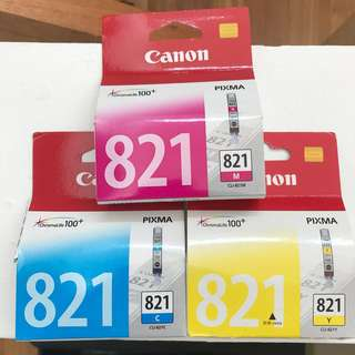 Canon Ink Cartridges C M Y model 821