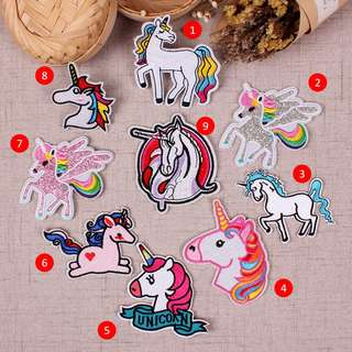 Unicorn Rainbow Embroidered Patches