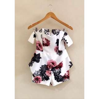 Off shoulder Floral Romper/ Playsuit dress