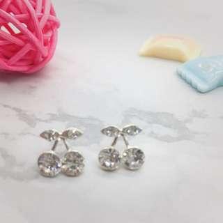 🚚 [首爾x印象]可愛櫻桃水鑽耳環