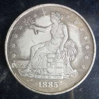 USA Seated Liberty 1885 Silver Coin 37.5mm 26.5gm