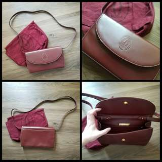 90%New CARTIER Vintage Crossbody Bag in Wine Red 袋