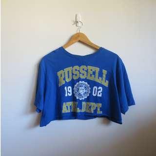 Russell Athletic Blue Crop Tee Vintage