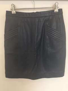 Gorman Navy Leather Skirt