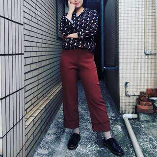 🚚 復古襯衫/磚紅直筒寬褲
