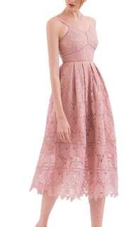 Lace dress pink premium