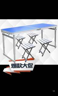 (BN) Foldable 2 silver table and chairs