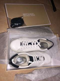 Michael Kors Irving Lace Up Leather White Sneakers