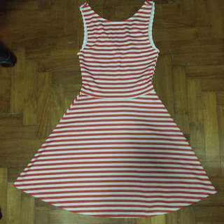 H&M Red And White Striped Dress (UK Size 4)