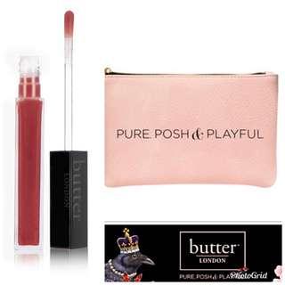 Butter London Plush Rush Lip Gloss & Makeup Bag Set