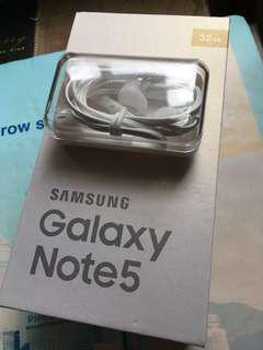 New Samsung Note 5 Earphone with Box + 80%Used micro usb Cable