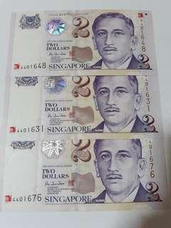 2000 $2 Millennia Note 3pcs