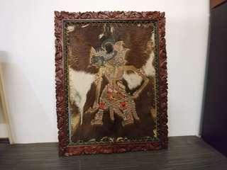 Wayang Kulit Batik Folk Art Animal Skin Hand Carved Frame Rare Shadow Puppet Art Asian Indonesian Dance