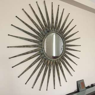Huge Beautiful Sun Mirror Wall Decor with Weathered Look