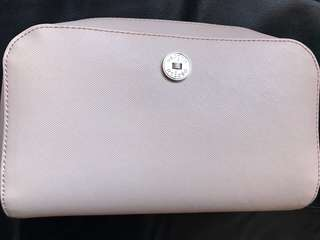 Oroton nude leather travel / makeup bag