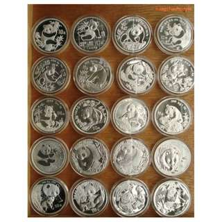 1989 - 2013 1 oz China Panda Coins (25 pieces)