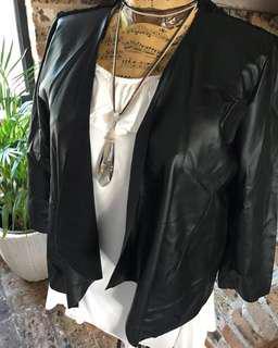 Faux Leather Bomber Style Jacket