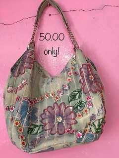 Pre Loved Floral Green Shoulder Bag