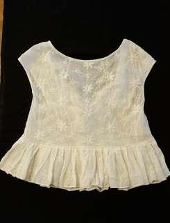 Zalora Ivory with Embroidery Sleeveless Top #July100